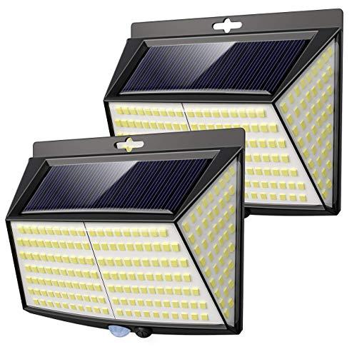 Luce Solare LED Esterno, 【2 Pezzi 228 LED】Vighep Luci Solari Lampade Faretti Solari a LED da Esterno Sensore di Movimento IP65 Impermeabile 3 Modalità per Giardino Parete Wireless Risparmio Energetico