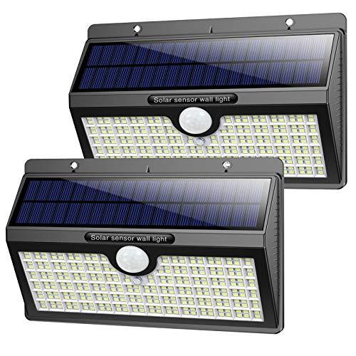 Luce Solare led Esterno, [2500 mah-2600 Lumen] Pxwaxpy 286 LED Lampada Solare con Sensore di Movimento Luci Solari Esterno 3 Modalità Lampade Solari IP65 Impermeabile per Giardino-2 Pezzi