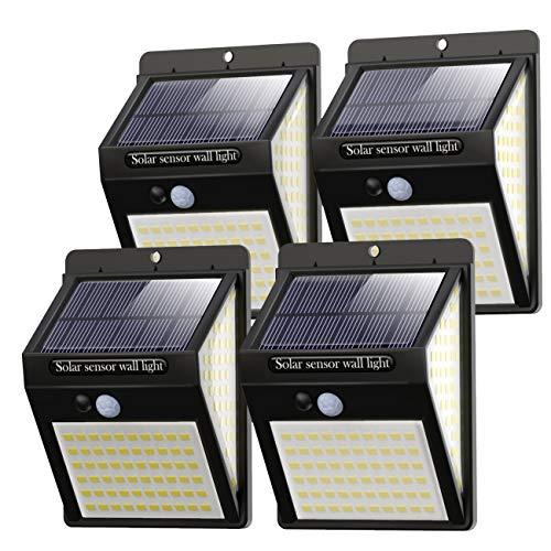 Luce Solare LED Esterno [4 Pezzi], 140LED Luci Solari Lampade Faretti Solari a LED da Esterno Sensore di Movimento IP65 Impermeabile 3 Modalità per Giardino, Parete Wireless Risparmio Energetico