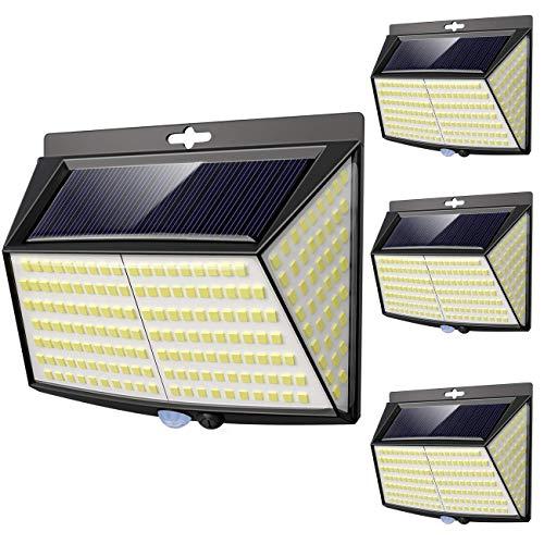 Luce Solare LED Esterno, [ 4 Pezzi 228 LED] Faretti Solari a Led da Esterno Lampada da Esterno con Sensore di Movimento IP65 Impermeabile 3 Modalità per Giardino, Parete Wireless Risparmio Energetico