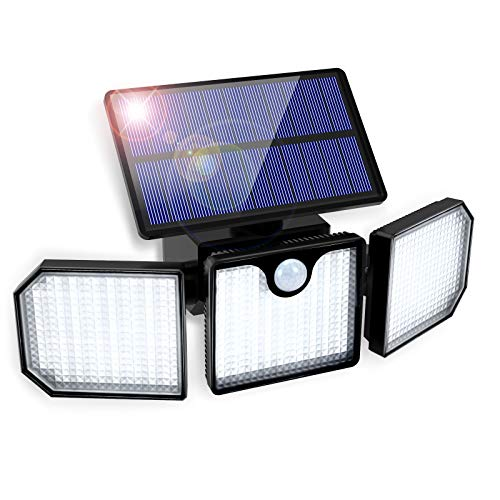 Luce Solare LED Esterno GolWof 230 LED 3 Teste Lampade Solari con Sensore di Movimento 270° Illuminazione Lampada Solare da Parete IP65 Impermeabile Luci Solari Esterno per Giardino Cortile Garage
