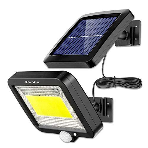 Luce Solare LED Esterno, Rluobo Lampada Solare con Sensore di Movimento cavo 16 piedi 100 LED Luce da Esterno, 120° Di Illuminazione con 3 Modalità, Impermeabile IP65 per cortile, giardino