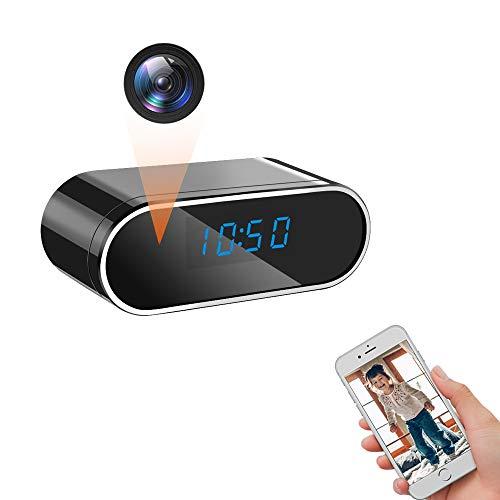 LXMIMI Telecamera Nascosta, WiFi Telecamera Spia, 1080P HD Rilevamento del Movimento Videocamera Nascosta, 140° Grandangolare Visione Notturna Videocamera Spia con Visualizzazione Dell'orologio