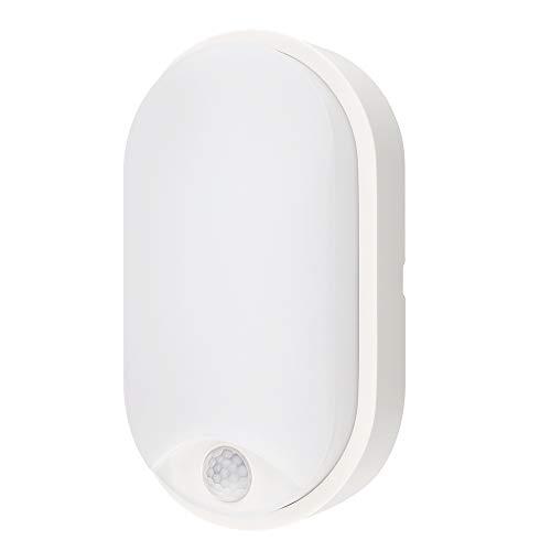 M EGA MEGACUBE Lampada da Parete LED Moderna Impermeabile ovale con Sensore di Movimento PIR 10W 4000K IP54 Illuminazione Per Esterni e Interni