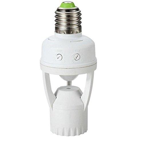Maclean MCE24 Portalampada con Rilevatore Movimento Sensore PIR Lampadine Bulba Sicurezza Risparmio Energetico E 27 60W