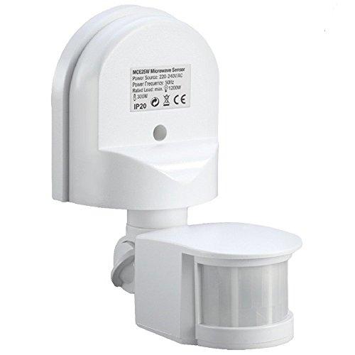 Maclean MCE25W Rilevatore Movimento Sensore PIR 180° da Parete Muro