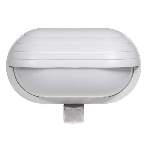 Maclean MCE33 - Lampada a parete per esterni con sensore di movimento rilevatore di movimento 60 W 180 ° PIR lampada giardino lampada attacco lampada E27 (bianco), cablato