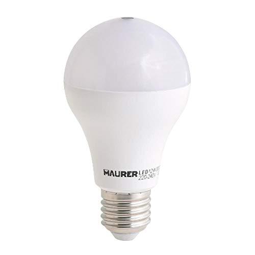 Maurer 19070822 - Lampadina LED con sensore crepuscolare, 12 W, bianco, vetro