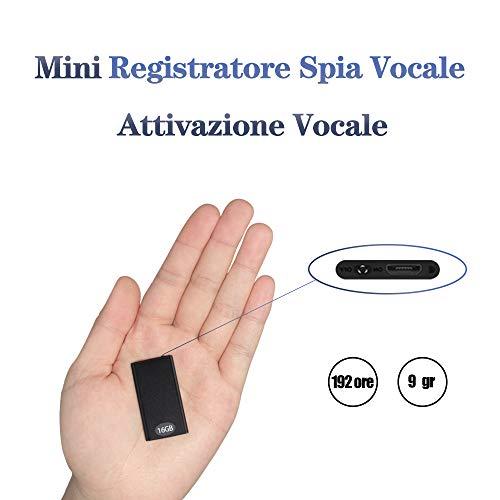 Mini Spia Registratore Vocale Portatile H+Y fino a 192 ore, 16GB Micro Registratore con Attivazione Vocale, Ricaricabile USB e funzioni MP3 Ideale per Conferenze, Riunioni, Interviste, Discorsi