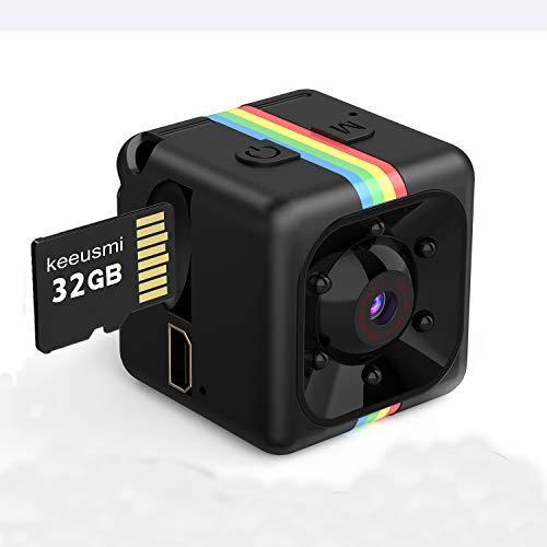 Mini Telecamera Spia Nascosta con Micro sd 32GB, Full HD 1080P Microcamera Spia con Rilevamento di Movimento Portatile Videocamera di Sorveglianza Video per Esterno/Interno con Manuale Italiano