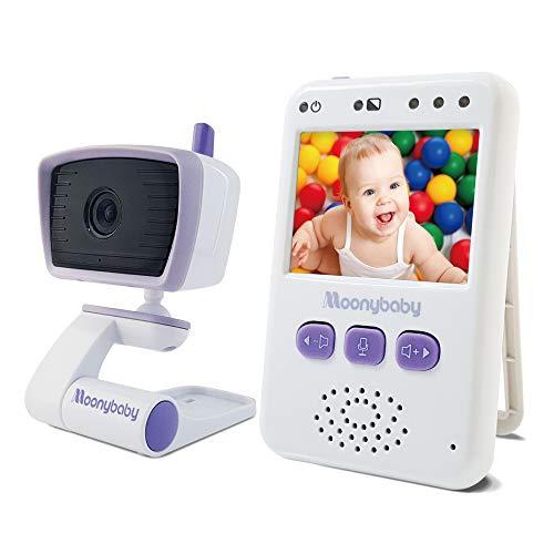 Moonybaby Value 100 Baby Monitor Video con Visione Notturna - Schermo 2,4 Pollici, 2.4GHz, Audio 2-Vie, Modalità VOX, Fino a 4 Telecamere, Fino a 4 Telecamere - Monitor con 1 Telecamera