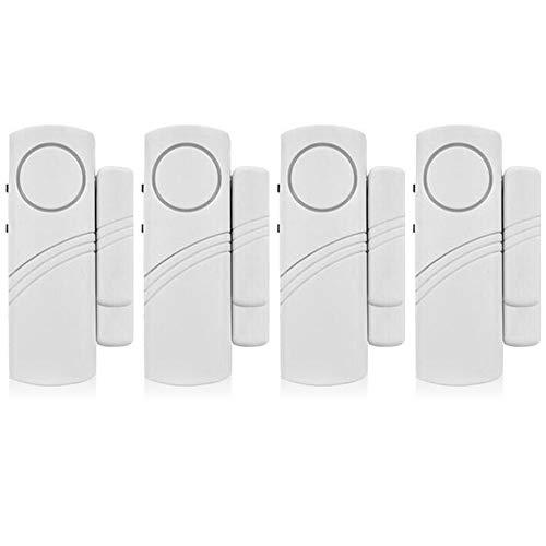 Mopoin Allarme per porta finestra, 4 set di 4 sensori magnetici senza fili per porte e finestre, allarme antifurto, sistema di allarme rilevatore di allarme forte 90 dB, per la sicurezza dei bambini