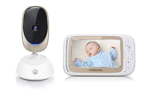 """Motorola Baby Comfort 85 Connect - Babyphone con funzione di rotazione e zoom, Wi-Fi, display a colori da 5.0"""", visione notturna, audio a 2 vie e sensore di temperatura, colore: Bianco"""