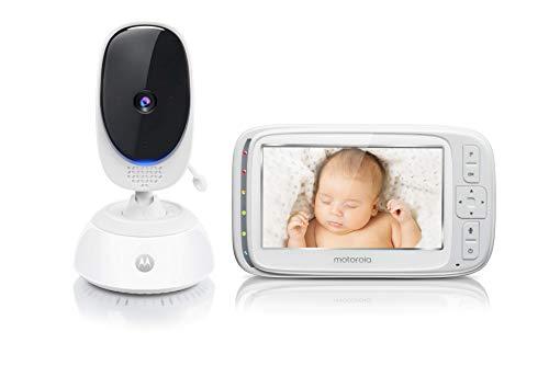 Motorola Comfort 75 - Video Baby Monitor con Pan e Zoom, Display a Colori da 5.0 Pollici, Visione Notturna, Audio a 2 Vie e Sensore di Temperatura, Portata 300M - Bianco