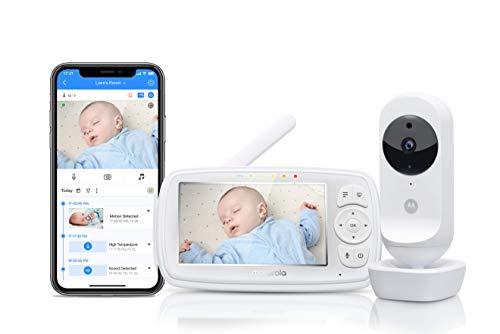 """Motorola Ease 44 Connect - Babyphone Wi-Fi con Videocamera - Baby Monitor con Schermo Video HD da 4.3"""" - Applicazione Hubble - Visione Notturna, Ninna Nanne, Microfono, Monitoraggio della Temperatura"""