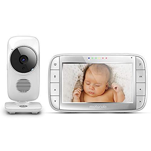 """Motorola MBP 48 - Baby monitor video digitale con schermo LCD a colori da 5.0"""", modo eco e visione notturna, bianco"""