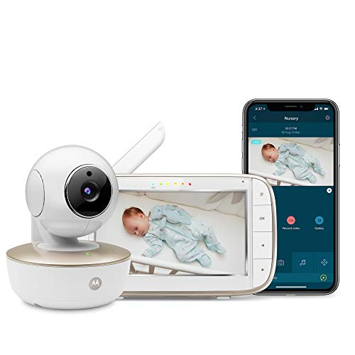 Motorola MBP855 Monitor per controllo bambini con video collegato, con videocamera ad accesso remoto WiFi portatile, 12,7 cm (UK Plug)