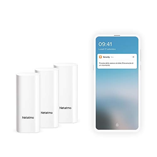 Netatmo Sensori Intelligenti per Porte e Finestre Netatmo, wireless, monopezzo, confezione da 3, rilevamento di vibrazione, DTG-IT