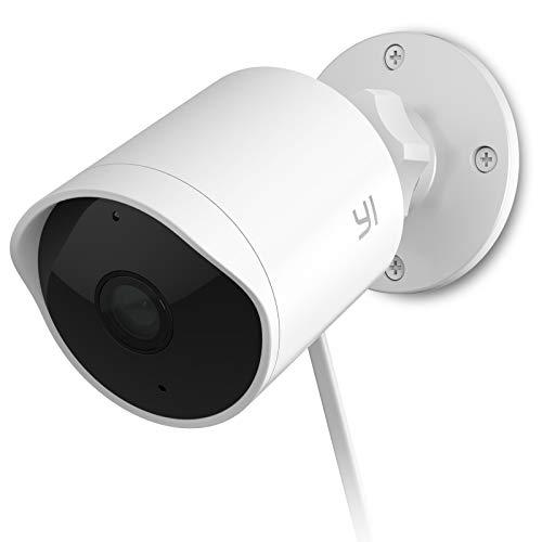 [Nuova Versione 2021] YI Telecamera Sorveglianza per Esterno, Telecamera Outdoor Impermeabile IP65 con Intelligenza Artificiale, Rilevamento Umano e Sonoro, Cloud, compatibile con Alexa, iOs, Android