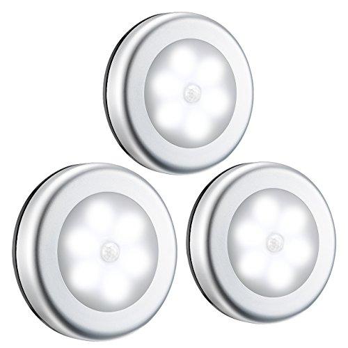 OMORC Luce Interno per Armadio Cucina|[3 Pezzi] Luce LED Sensore Movimento Senza Fili Magnete|Luce da Parete per Bambini|Luce Notturna per Scale Corridoio Camera da Letto Bagno Garage|Luce Fredda