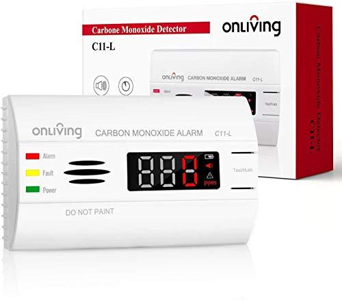 ONLIVING Rilevatore di Monossido di Carbonio 10 anni, Allarme CO con Schermo a LED, Sensore Accurato a 360 ° e Pulsante di Test, Batteria Sostituibile, Certificato EN 50291, C11-L