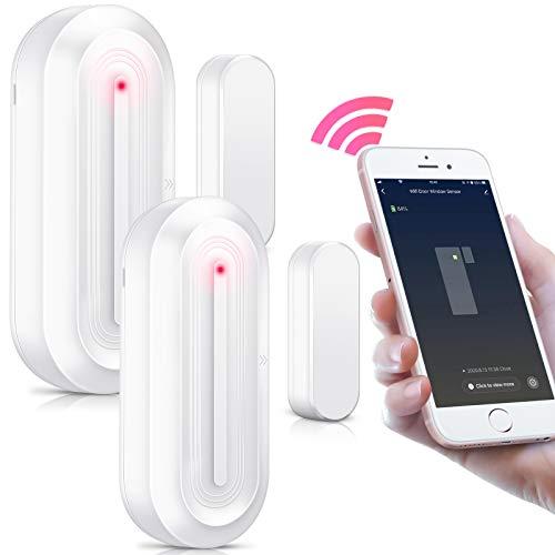PHYSEN - Sensore per porta e finestra con sensore magnetico, allarme per porta, con controllo tramite app, compatibile con Amazon Alexa e Google Home, adatto per casa/ufficio/negozio, colore: Bianco