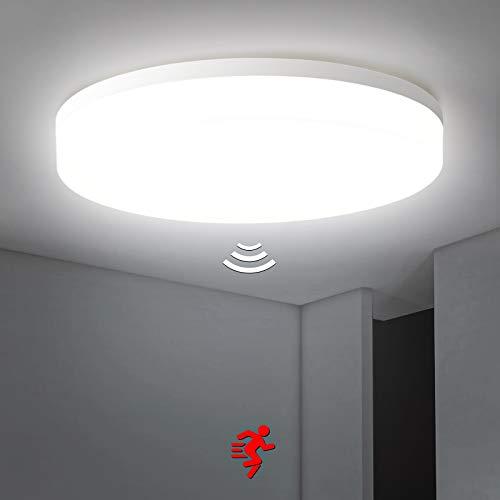 Plafoniera a LED con rilevatore di movimento, Oraymin 36W 3800LM plafoniera con rilevatore di movimento, IP54 4000K, luce bianca neutra, per balcone, soggiorno, corridoio, cucina, ø 32,7cm