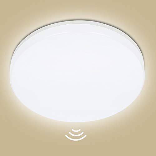 Plafoniera LED Con Sensore di Movimento, Oeegoo 18W 1800LM Lampada da soffitto con sensor a Microonde, Bianco Naturale 4000K Impermeabile IP44 Lampadario per Seminterrato Scale Corridoio Ø28cm
