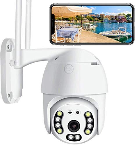 Ptz Camera Wifi Videocamera IP Esterno Senza Fili, 1080P Telecamera di Sorveglianza con Rilevamento del Movimento Visione Notturna IR IP66 Impermeabile Audio a 2 Vie