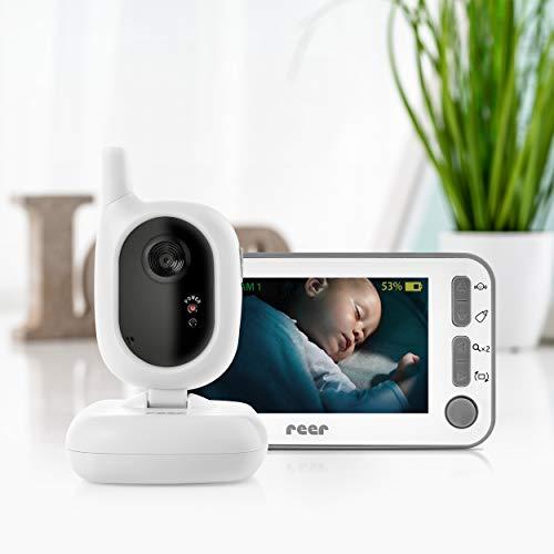 """reer 80430 BabyCam - Videocamera per bambini, portata 300 m, grandangolo a 50 gradi, display TFT da 4,3"""", con allarme di movimento, colore: Bianco"""