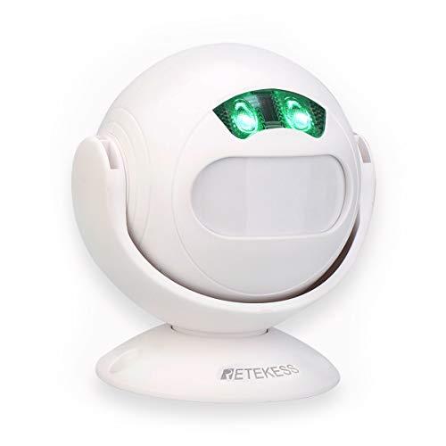 Retekess TD107 Rilevatore di Movimento DIY Campanello PIR Infrarossi Sensore Wireless Allarme Luce Notturna per Negozio Casa Sicurezza Vialetto Sistema di Allarme Bianco