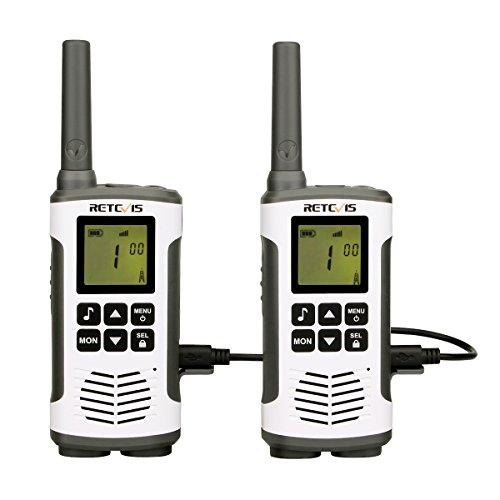 Retevis RT45 Walkie Talkie Ricaricabili PMR446 Ricetrasmettitore 121 CTCSS/DCS 10 Call Tones VOX Monitor Della Stanza Dual Watch Ricetrasmittenti con Cavo di Ricarica USB (Bianco, 2 Pezzi)