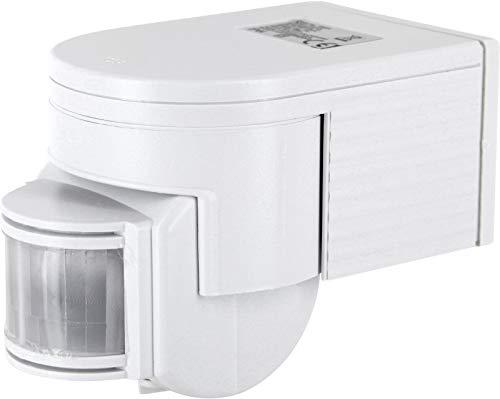 Rilevatore di movimento a infrarossi da incasso, IP44, 180°, con sensore crepuscolare, orientabile, adatto a LED