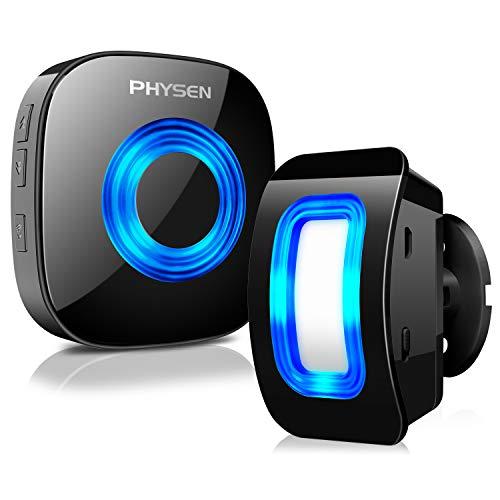 Rilevatore di movimento a infrarossi PHYSEN sistema di allarme di sicurezza domestica wireless, portata fino a 120-150 M a 4-5 Mx110 °, 1 rilevatore di movimento e 1 ricevitore plug-in, 58 suonerie