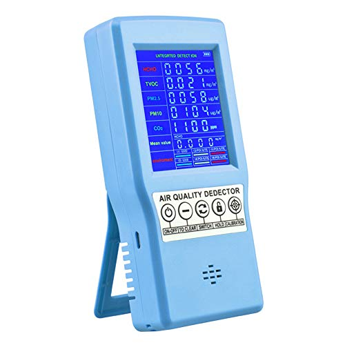S SMAUTOP Monitoraggio della qualità dell'aria per interni, Rilevatore di gas d'aria multifunzionale professionale con schermo LCD colorato Per Co2 Pm2.5 Pm10 Hcho Tvoc,Per ufficio in casa (blu)