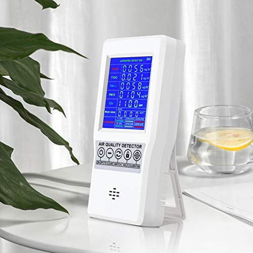S SMAUTOP Rivelatore di Qualità Dell'aria, Monitor Digitale Portatile Della Qualità Dell'aria Display LCD Rilevatore di Gas Ricaricabile Portatile ad Alta Precisione Analisi di Gas, per CO2/HCHO/TVOC