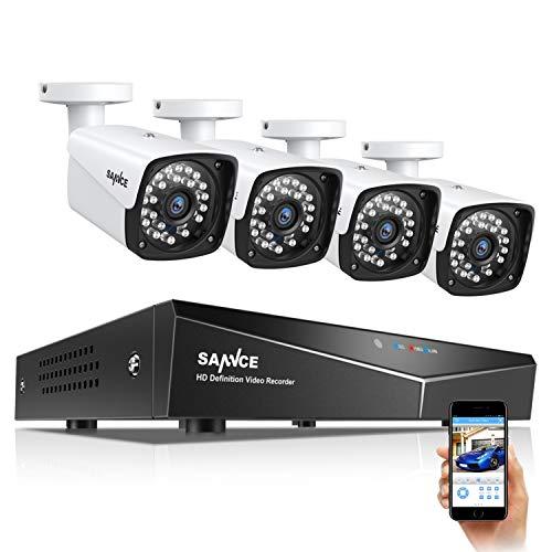SANNCE Kit di sicurezza XPOE 1080P 4CH NVR e 4 IP Telecamere di Sorveglianza 2MP IP66 Impermeabile Interno/Esterno Visione Notturna 30m Allarme di rilevamento di Movimento-Senza HDD
