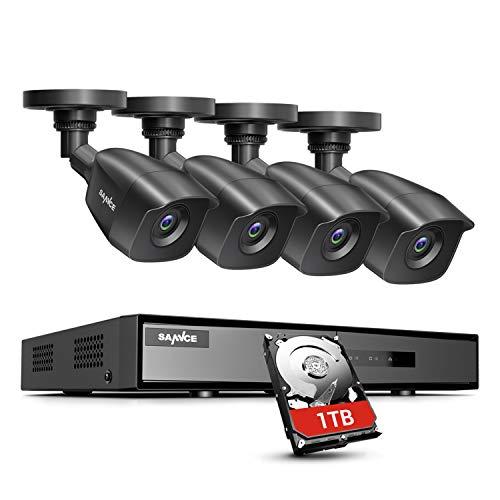 SANNCE Kit di Sorveglianza 1080P DVR 8 Canali TVI con 1TB Disco Rigido Installato 4 Telecamera Esterno 1080P Kit Videosorveglianza Porta HDMI Motion Detection P2P Cloud Visione Notturna-1TB HDD