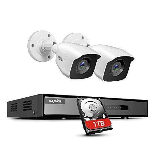 SANNCE Kit di Videosorveglianza 1080P Lite 4CH DVR con 1TB Disco Rigido Installato H.264 + y 2 Telecamere di Sorveglianza 1080P CCTV Rilevamento di Movimento IP66 Impermeabile - 1TB HDD