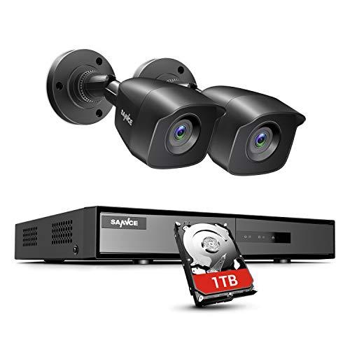 SANNCE Kit Videosorveglianza 4CH 1080P DVR 5 in 1 TVI con 1TB Disco Duro 2 Telecamere HD Sistema di Sicurezza CCTV Resistenti Bullet Avviso di Movimento - 1TB HDD Nero