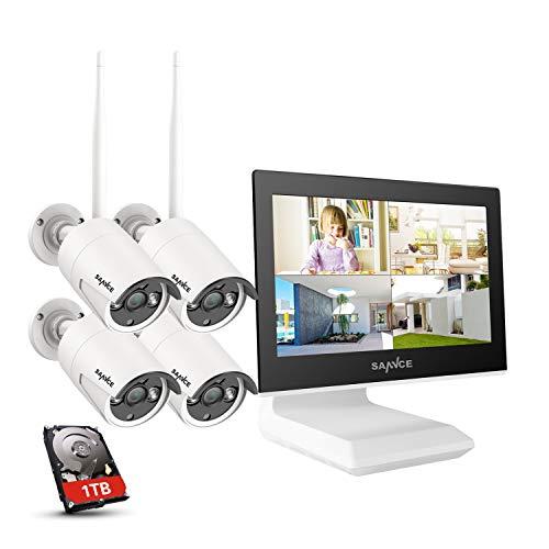"""SANNCE Kit Videosorveglianza WiFi 1080P 4CH NVR con 10,1"""" monitor 1TB Disco Rigido Installato 4 Wireless Telecamere di Sorveglianza 1080P Eseterno Visione Notturna 100 piedi IP66-1TB HDD"""