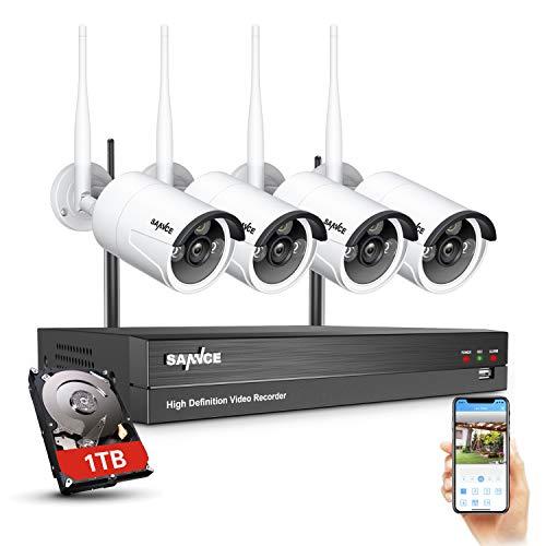 SANNCE WiFi Kit Videosorveglianza 1080P 8 Canali NVR con 4 IP Telecamere di Sorveglianza Wireless 1080P CCTV Sistema di Sicurezza da Esterno IP66 AI Rilevamento Umano, Accesso Remoto- HDD da 1TB