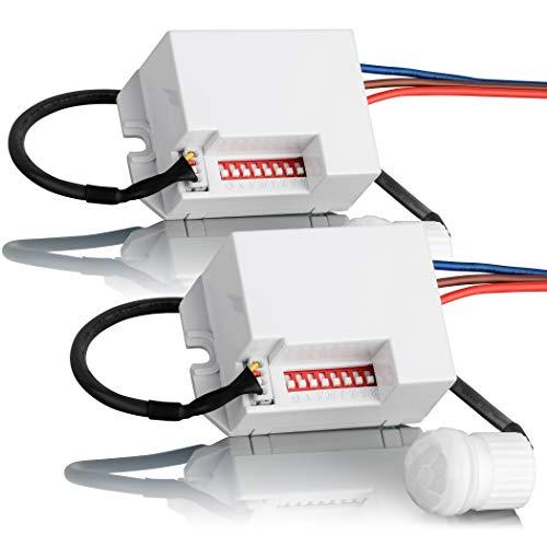 SEBSON 2X Mini Rilevatore di Movimento da Incasso per Interni, Montaggio a soffitto, LED Adatto, programmabile, Infrarossi Sensore, Portata 6m/360°