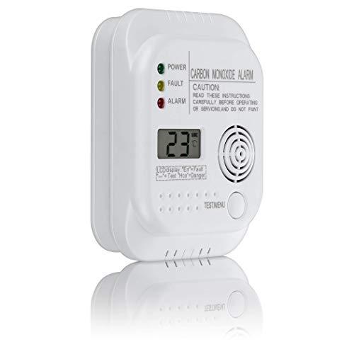 SEBSON Allarme Monossido di Carbonio, EN 50291, Alimentato a Batteria, Rivelatore di CO con Display e indicatore di Temperatura