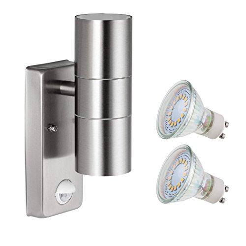 SEBSON® Lampada da Parete Esterno con Sensore di Movimento IP44, Acciaio, 2x Lampadina GU10 3,5W 300lm Bianco Freddo 6500K