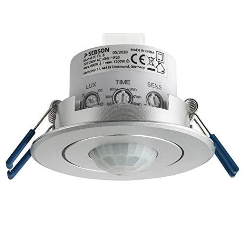 SEBSON Rilevatore di Movimento da Incasso, Soffitto Montaggio, LED adatto, programmabile, Infrarossi Sensore, Portata 6m/360°, orientabile