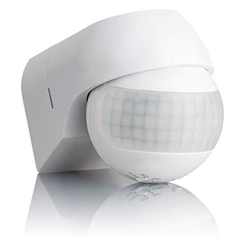 SEBSON Rilevatore di Movimento Esterno IP44, Montaggio a Parete, LED adatto, programmabile, Sensore Infrarossi, orientabile, Portata 12m / 180°