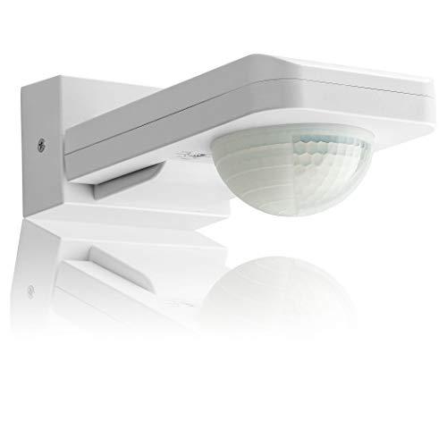 SEBSON Rilevatore di Movimento Esterno IP65, Montaggio a Parete e a Soffitto, LED adatto, programmabile, 20m / 360°, Infrarossi Sensore con 3 sensori