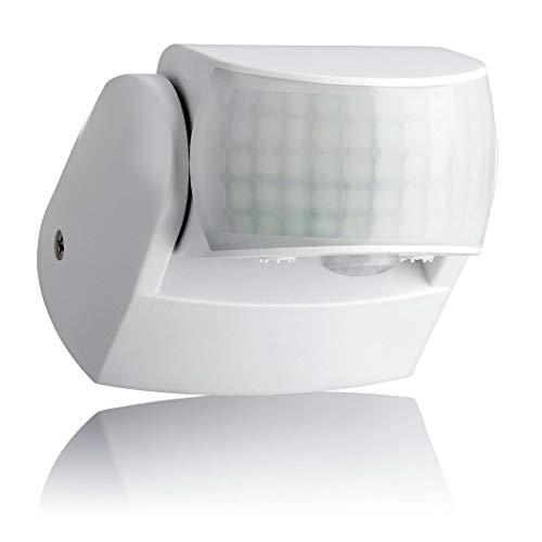 SEBSON Rilevatore di Movimento Esterno IP65, Montaggio a Parete, LED adatto, programmabile, 12m / 180° - 3m / 360° Sensore Infrarossi con 2 sensori
