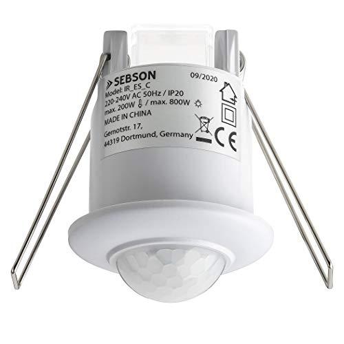 SEBSON Rilevatore di Movimento per Luci 220V Interni, Montaggio ad Incasso a Soffitto, LED adatto, pogrammabile, Infrarossi Sensore, 6m / 360°